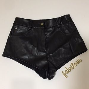 Nasty Gal black cheeky sexy vegan leather shorts